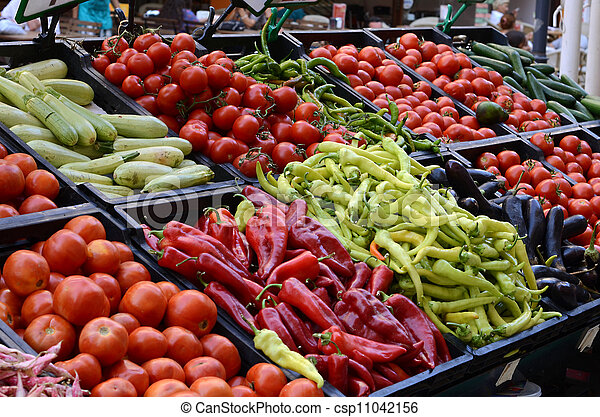 Fresh and organic vegetables at farmers market - csp11042156