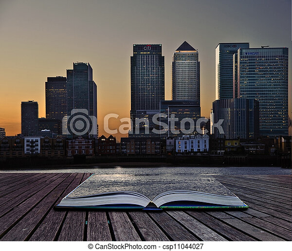 Creative concept image of office towers in pages of book - csp11044027