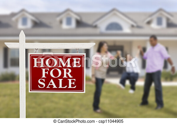 Real Estate Sign and Hispanic Family in Front of House - csp11044905