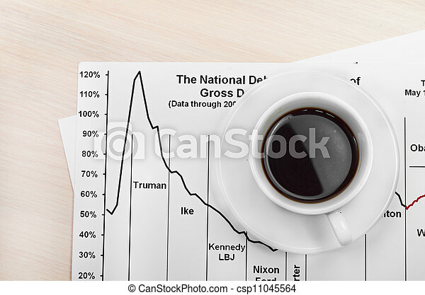 Accounting. Cup of coffee on document. chart and diagram - csp11045564