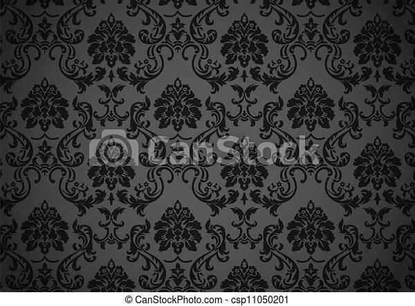 vector clipart van donker barok behang vector dark barok behang zwarte csp11050201. Black Bedroom Furniture Sets. Home Design Ideas