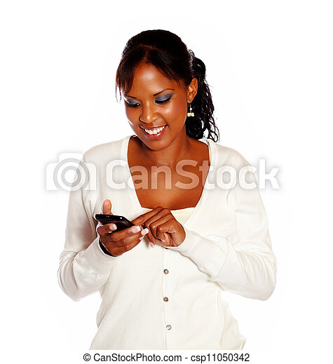 Beautiful young woman calling on black cellphone - csp11050342