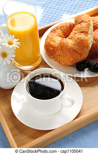 Breakfast served on a tray - csp1105041