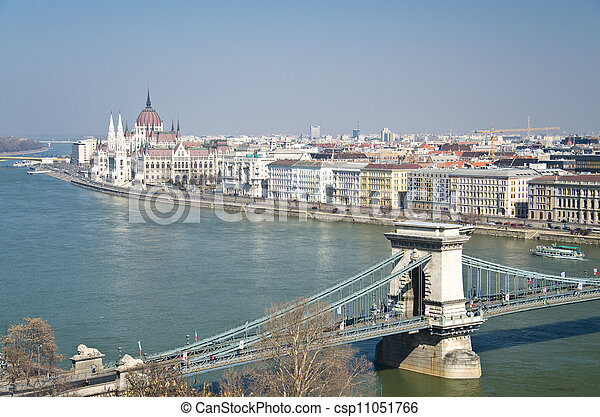 bridges of Danube and the Hungary Parliament - csp11051766