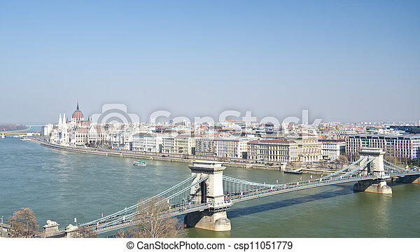 bridges of Danube and the Hungary Parliament - csp11051779