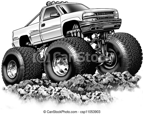 Cartoon Pickup Lines Cartoon 4x4 Truck Black Line