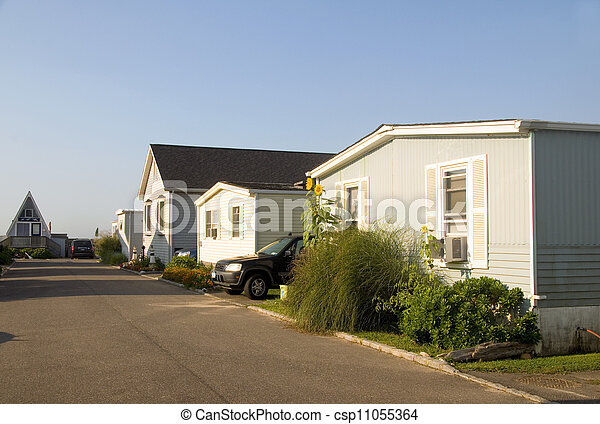 mobile homes in trailer park  - csp11055364