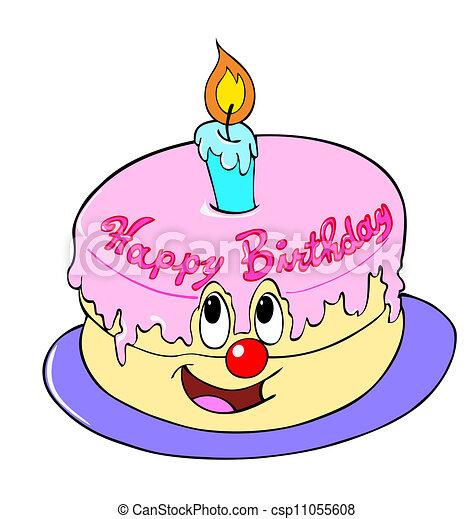 Happy Birthday Cake Line Art