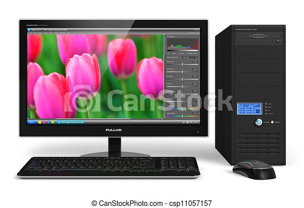 Desktop Computer With Photo Editing Software Royalty