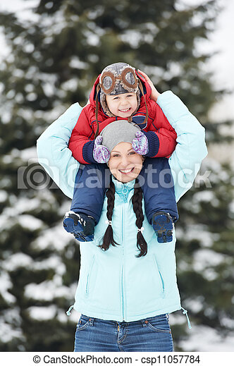 Mother with child boy son at winter - csp11057784