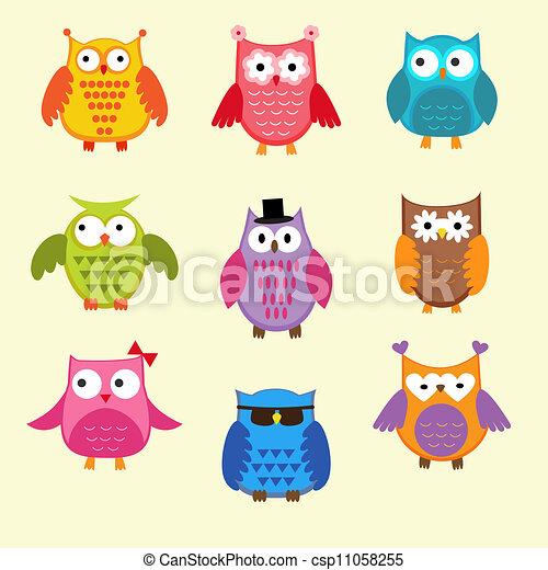 Vector set of cute owls - csp11058255