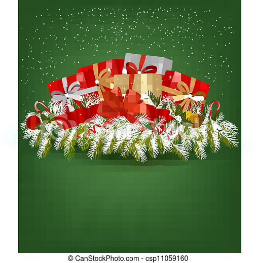 Christmas background with presents and a ribbon. Vector illustration. - csp11059160