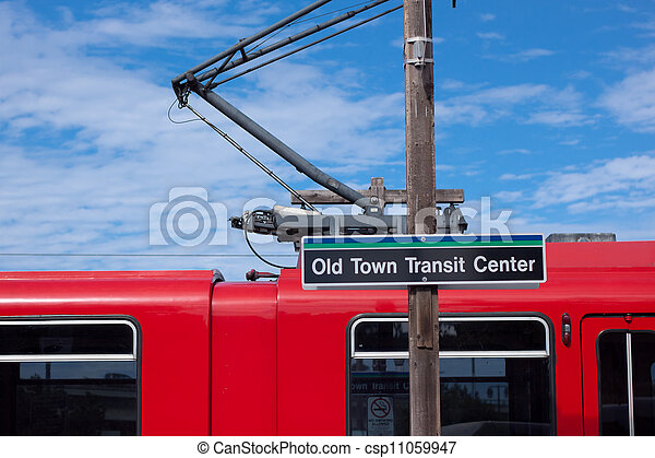 tranvía, centro pueblo, viejo, san, estados unidos de américa, tránsito, diego, rojo - csp11059947