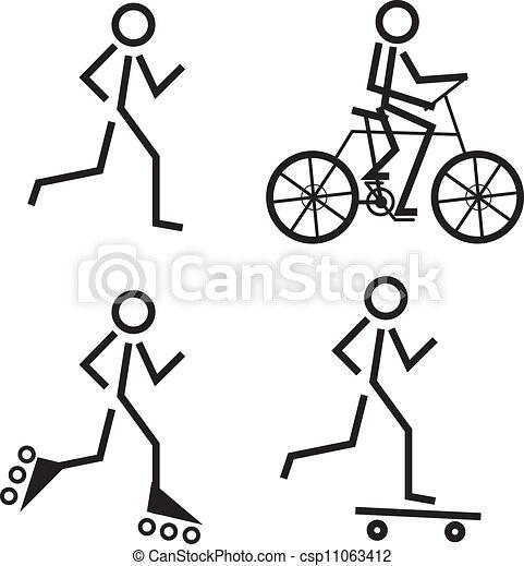 Figure Skate Drawing Stick Figures Skating Running