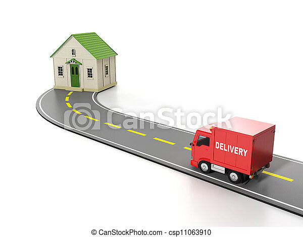 3d illustration: Transportation, cargo. Free home delivery - csp11063910