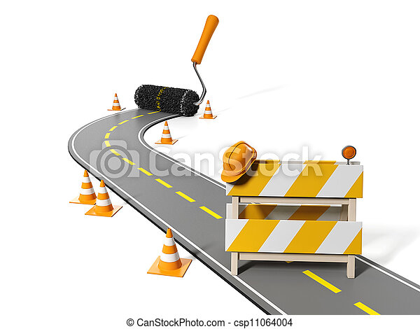 3d illustration: Repairs, maintenance and construction of pavement - csp11064004