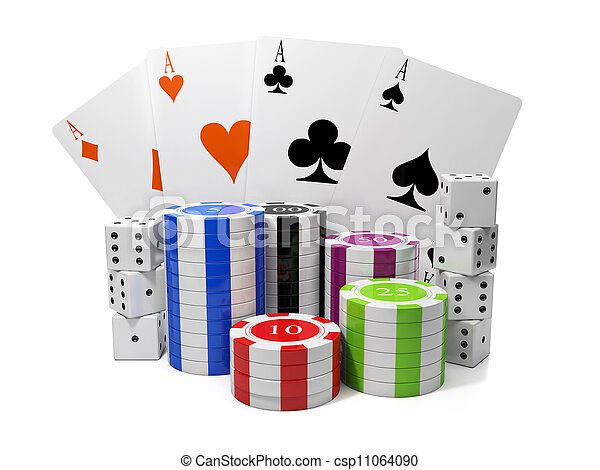 3d illustration: Entertainment gambling. Chips and playing cards with a group of cubes - csp11064090