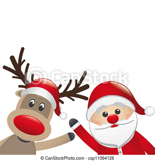 Clip Art of reindeer and santa claus wave white background ...