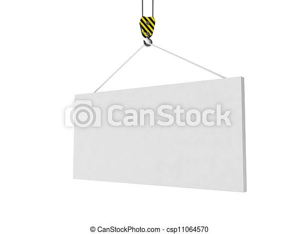 簽署,  Whiteboard,  illustration:, 舉起, 做廣告, 起重機,  3D - csp11064570