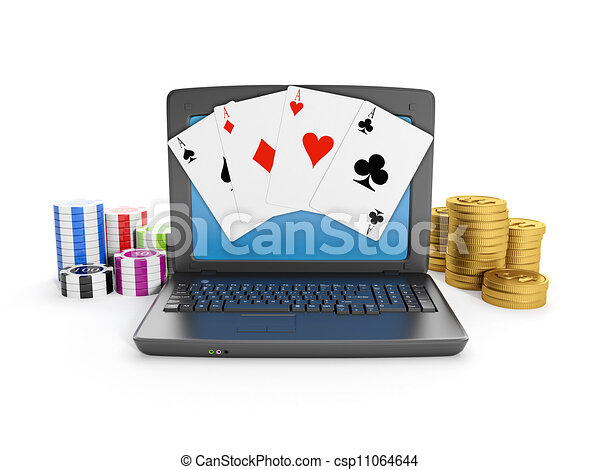 3d illustration: Gambling on the Internet, play online. Laptop casino chips and cards - csp11064644