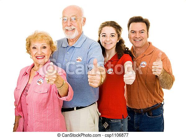 Family of Voters - Thumbsup - csp1106877