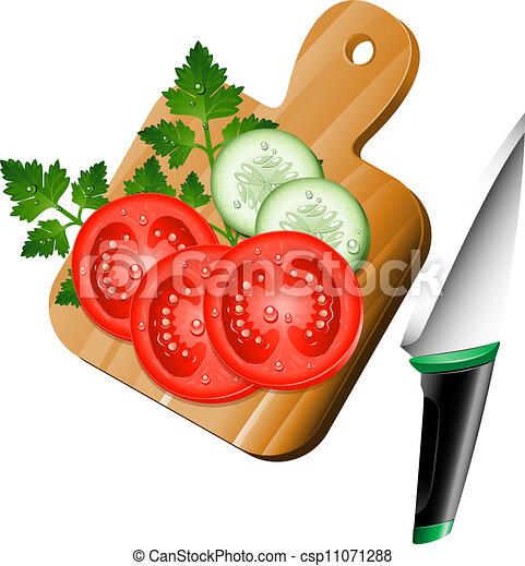 Schneidebrett clipart  Vektor von gemuese, schneidebrett - Vegetables, auf, der ...