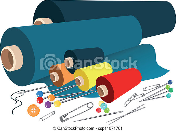 Clip Art Vector Of Vector Fabric Sewing Accessories