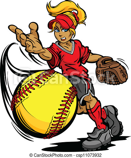 Softball Tournament Art of a Fastpitch Ball Thrown by Fast Pitch Softball Pitcher Cartoon Vector Illustration  - csp11073932