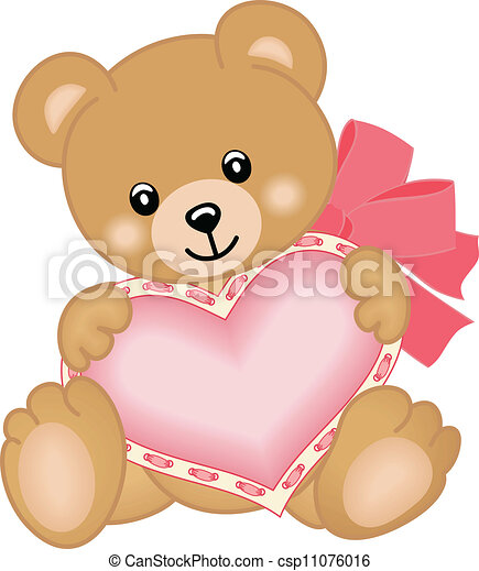 Cute teddy bear with heart - csp11076016