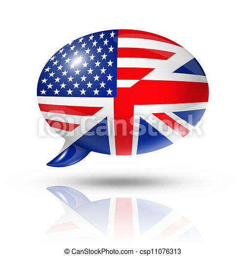 UK and USA flags speech bubble - csp11076313