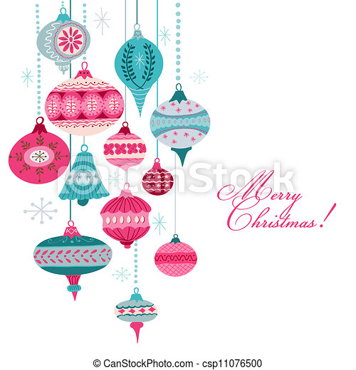 Vintage Christmas Background - with christmas tree balls - for design and scrapbook - in vector - csp11076500