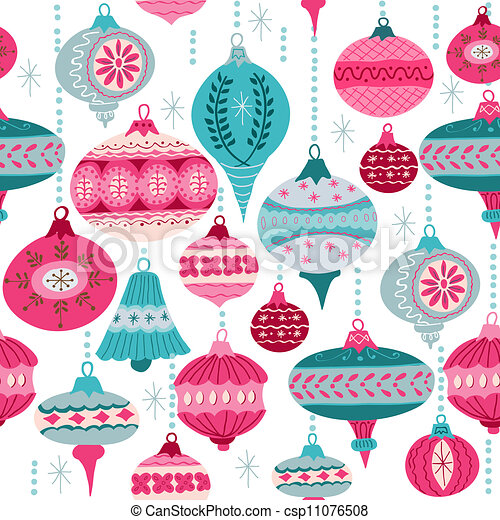 Vintage Christmas Background - with christmas tree balls - for design and scrapbook - in vector - csp11076508