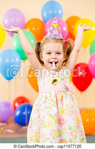 pretty joyful kid girl on birthday party - csp11077120
