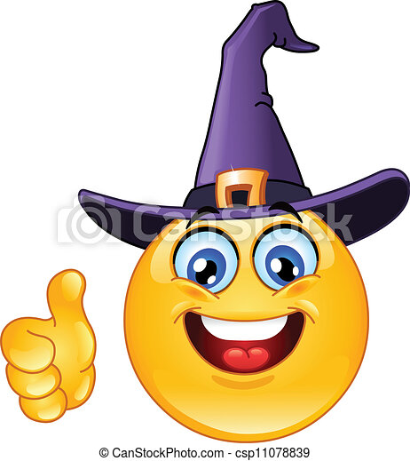 Emoticon with witch hat showing thumb up csp11078839 - Search Clip Art ...
