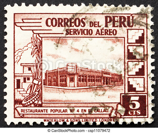 Postage stamp Peru 1938 Government Restaurant at Callao - csp11079472