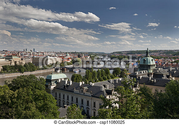 Prague - panoramic view with Vltava River and bridges - csp11080025