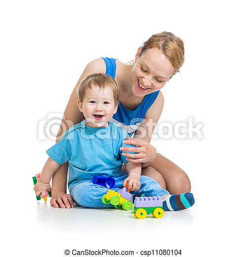 baby boy and mother playing together with construction set toy - csp11080104