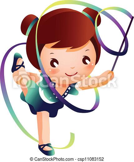 Vector - niña, Practicar, rítmico, gimnasta, PE - stock de ...