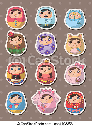 Russian dolls stickers - csp11083561