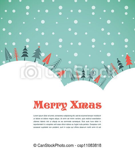 Christmas background with homes and birds - csp11083818