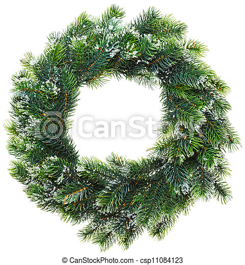Christmas wreath, isolated on white - csp11084123