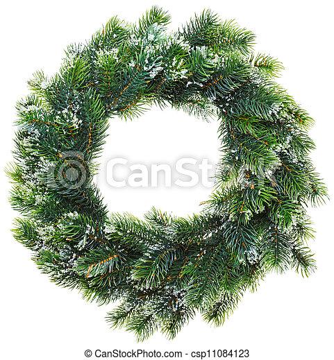 Christmas wreath, isolated on white - csp11084123