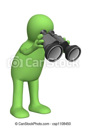 3d person puppet looking through field-glass - csp1108450