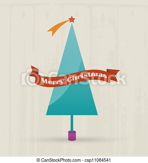 Christmas tree with merry christmas text. - csp11084541