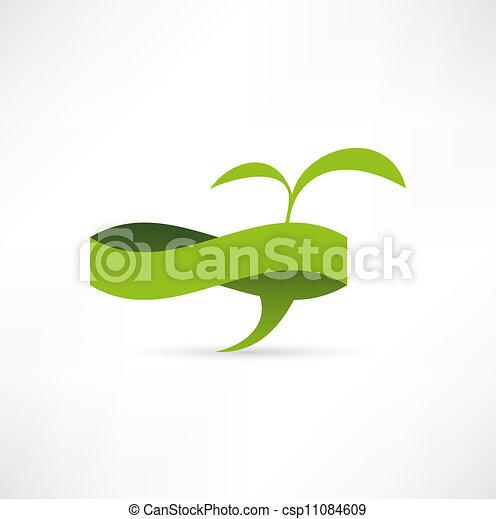 Green eco banner. Bubble for speech - csp11084609