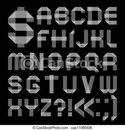 Font from scotch tape -  Roman alphabet - csp11085406