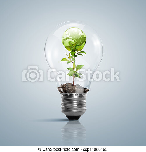 Lamp bulb with clean nature symbol inside - csp11086195