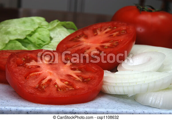 Tomatoes, Lettuce, and Onions - csp1108632