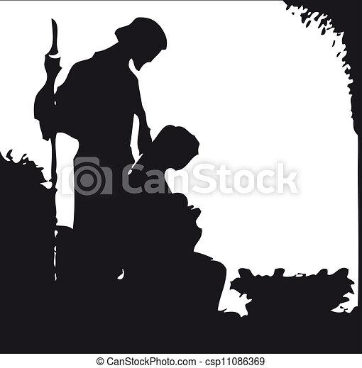 nativity silhouette - csp11086369