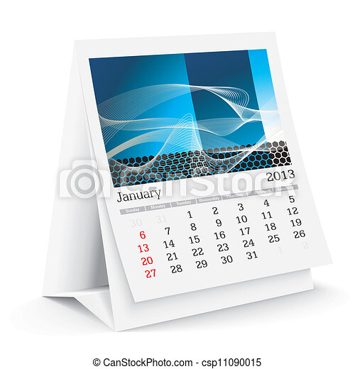 Vector clip art van januari kalender 2013 bureau 2013 for Bureau kalender